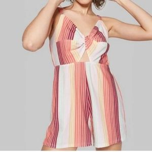 NWT Wild Fable Striped Twist Front Romper